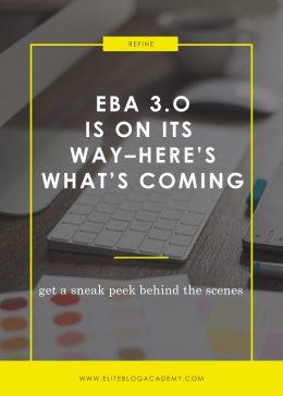 Dying to know whether Elite Blog Academy is right for you? The doors for EBA 3.0 will be opening in 2017, and we're pretty sure it's going to rock your world (but only in the BEST possible way!) Don't miss this sneak peek behind the scenes to find out what's coming--and how it will help you create the successful, profitable blogging business you've been dreaming of.