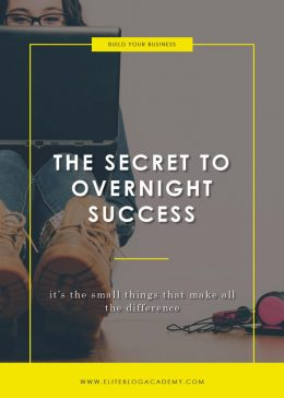 The Secret to Overnight Success | Elite Blog Academy | Blogging 101 | How to Start a Successful Blog | Focus on the Small Things | Overnight Success | How to Blog
