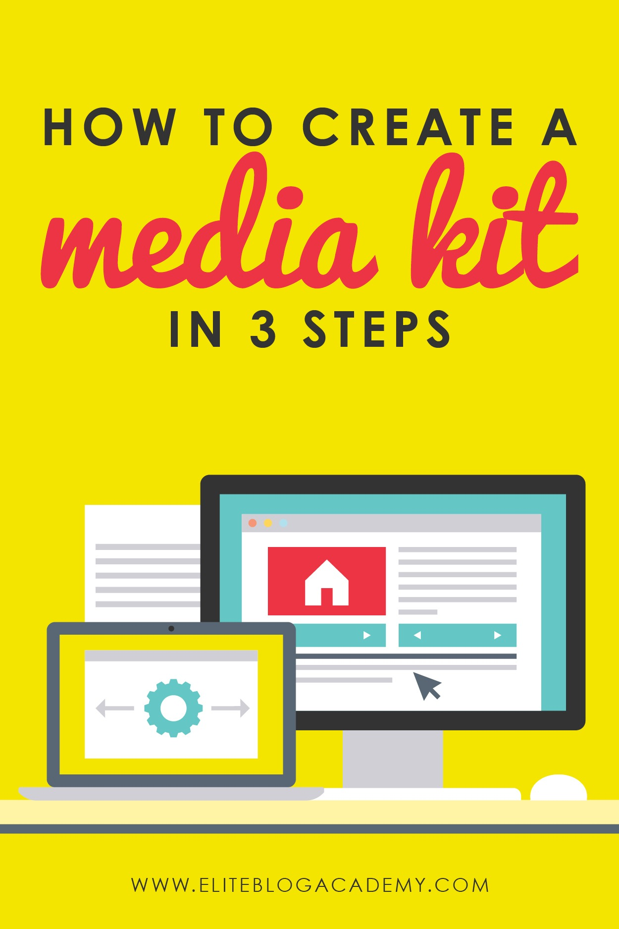 Ready to start treating your blog as business and begin working with brands? Having a media kit will be super important and may seem overwhelming, but in this post we are teaching you how to create a media kit in 3 easy steps! #eliteblogacademy #bloggingtips #makemoneyblogging #makemoneyfromhome