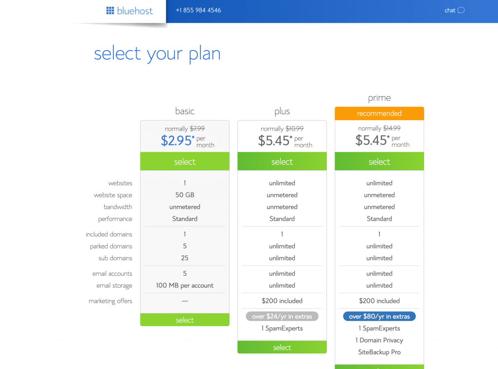 Bluehost screenshot-special EBA pricing and discount
