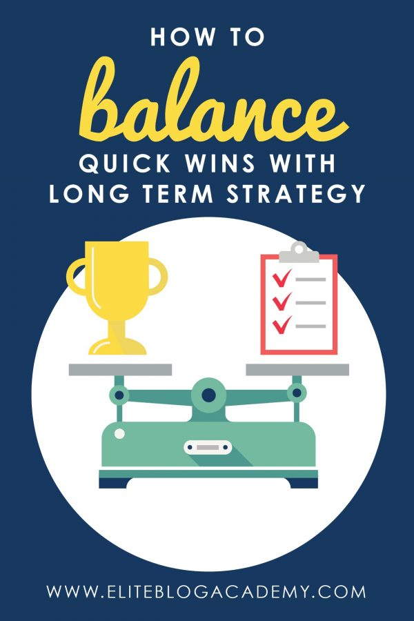 Do you spend more time working for today or planning for tomorrow? Building a successful and sustainable blogging business requires both! Don't miss these tips on how to find the perfect balance of short-term wins and long-term strategy in your blogging business.