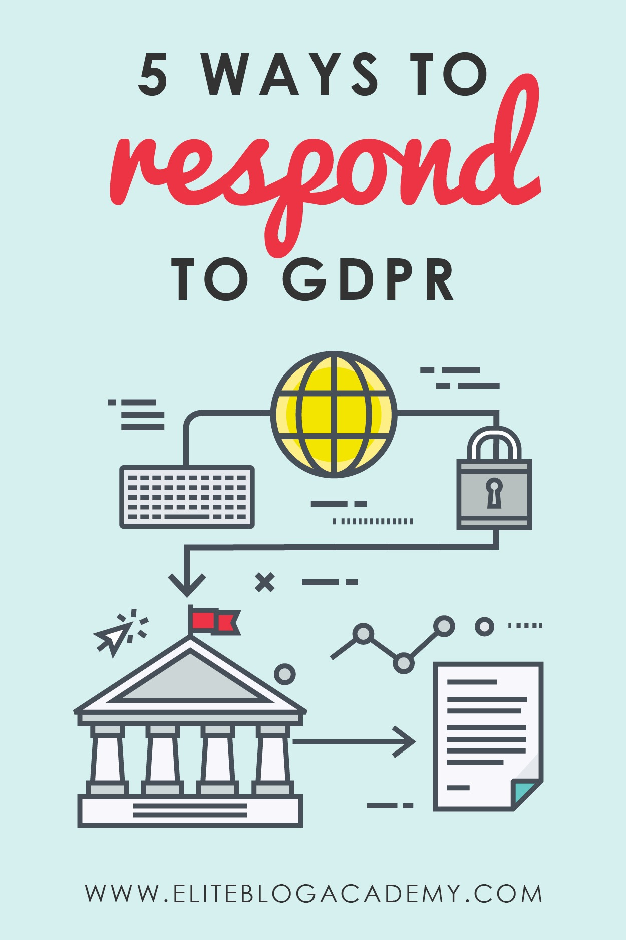 Stressed out over the new General Data Protection Regulation (or GDPR) legislation? It affects all of us as bloggers and online business owners! But don't panic! This post addresses how to respond to GDPR. #eliteblogacademy #GDPR #emailmarketing