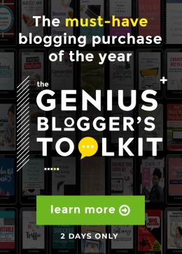 Want to blog smarter? Don't miss your chance to grab the Genius Blogger's Toolkit! It's an incredible bundle of more than 60 tools & resources for bloggers, including eBooks, eCourses, printable packs, and more, not to mention access to our own 2017 ACTIVATE: EBA Live videos (a $297 value all in itself!). Best of all, the total value is over $6,000, but for just TWO days you can get it for just $97—98% off!