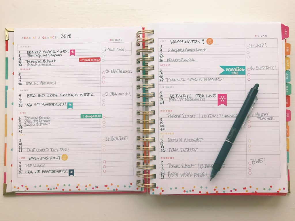 Living Well Planner® Year at a Glance Page