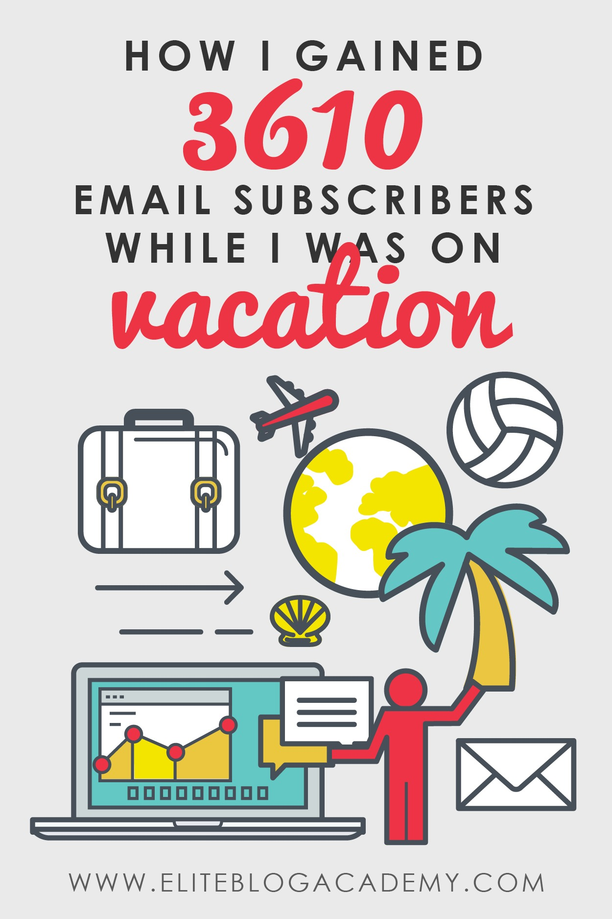 Want to know how to grow your email subscribers while you sleep? In this post, guest blogger Jennifer Marx shares the secrets to how she was able to grow her email list by 3610 subscribers while she was on vacation, and some simple ways that you can, too! #eliteblogacademy #makemoneyblogging #blogginghelp #growyouraudience