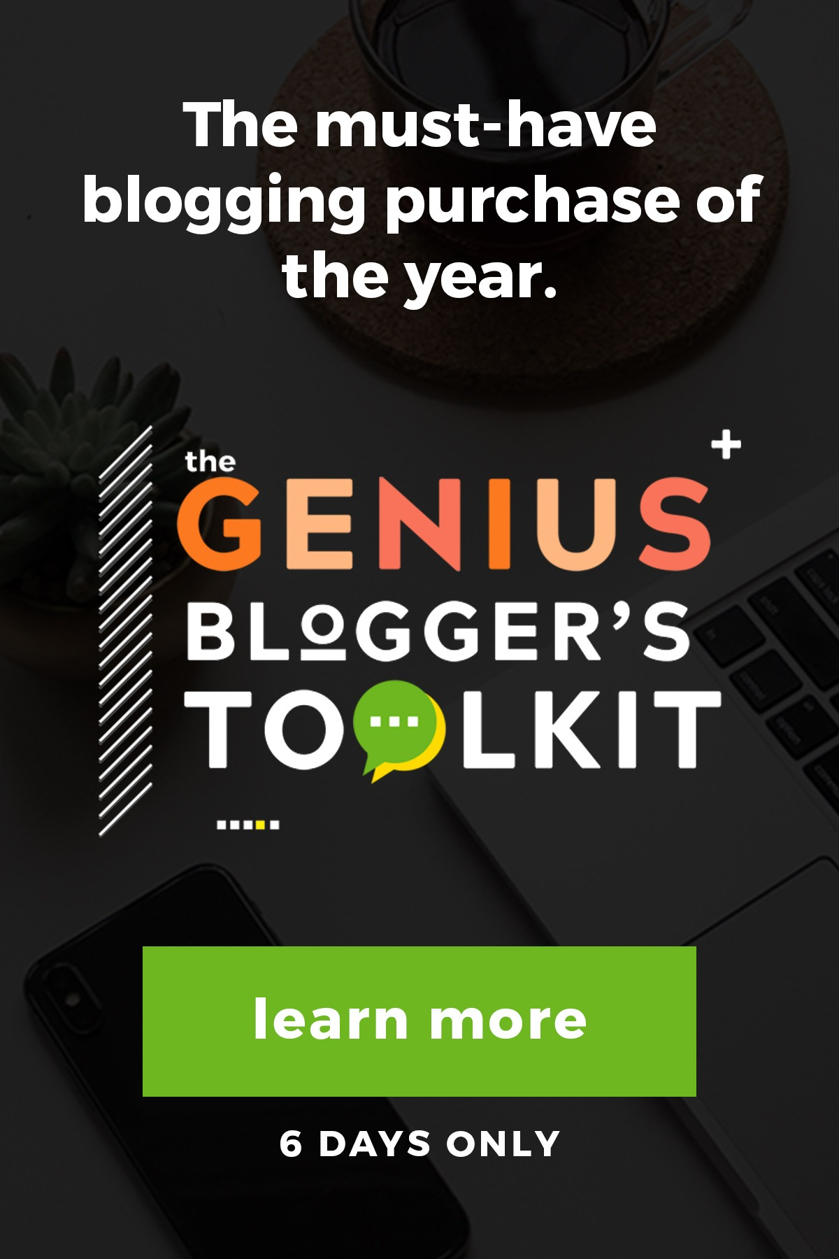 Want to grow your #blog? The Genius Blogger's Toolkit is back and is 98% off for just 6 days! Get access to over $6000 in #blogging resources, at one amazing price making it the blogging resource you can't miss! #eliteblogacademy #ultimatebundles #geniusbloggerstoolkit #bloggingresources #makemoneyblogging